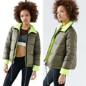 Without Walls Green Reversible Down Bomber Jacket